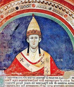 Pope Innocent III depicted wearing the pallium in a fresco at the Sacro Speco Cloister