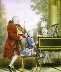 Leopold, Wolfgang, and Nannerl. Watercolour by Carmontelle, c. 1763–64
