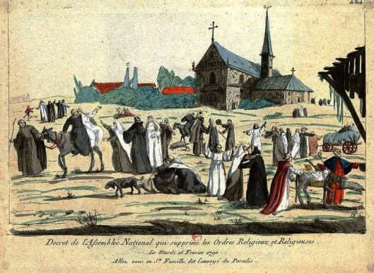 In this caricature, after the decree of 16 February 1790, monks and nuns enjoy their new freedom
