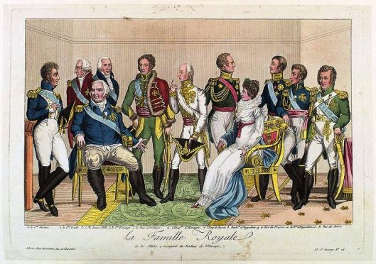 Popular colored etching, verging on caricature, published by Décrouant, early 19th century: La famille royale et les alliées s'occupant du bonheur de l'Europe (The Royal Family and the Allies concerned with the Happiness of Europe)