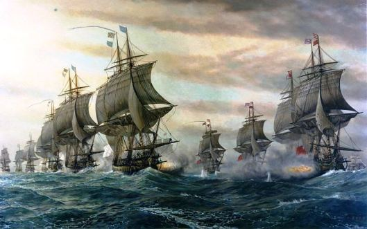 French (left) and British ships (right) at the battle of the Chesapeake