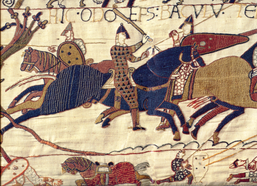 A segment of the Bayeux Tapestry depicting Odo, Earl of Kent rallying Duke William's troops at the Battle of Hastings (Photo credit: Wikipedia)