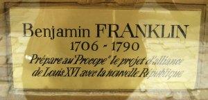 Plaque honouring Benjamin Franklin at the Café Procope