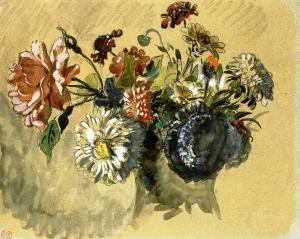 Bouquet of Flowers, by Eugène Delacroix
