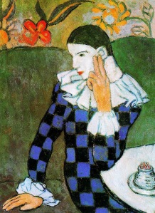 Harlequin leaning (Harlequin accoudé), by Picasso, 1901