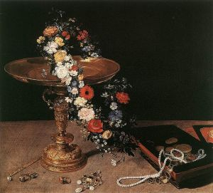 Still Life with Garland of Flowers and Golden Tazza, by Jan Brueghel