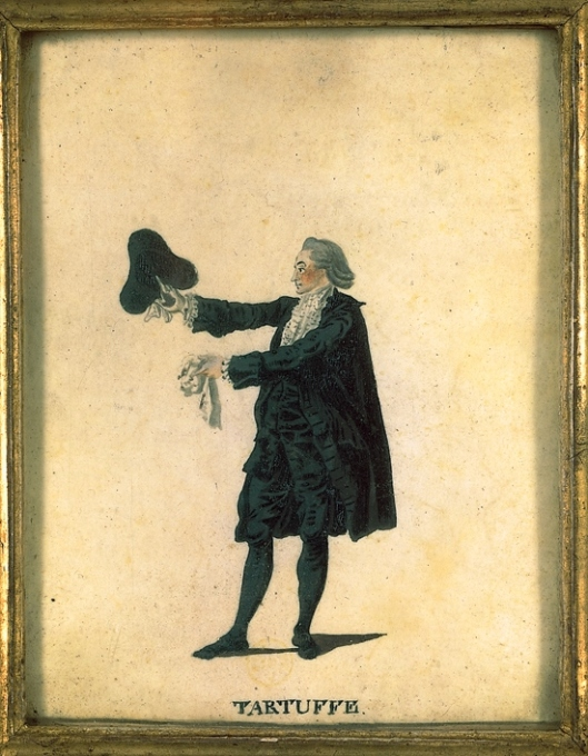 Tartuffe dans la pièce du même nom de Molière. Gouache (XVIIIe siècle) de Fesch et Whirsker. Archives Larbor