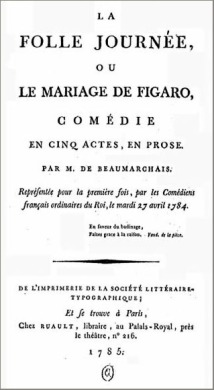 Le Mariage de Figaro, 1784