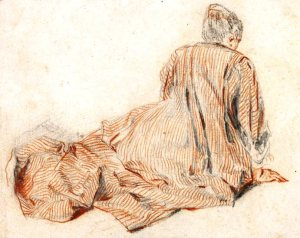 Detail of Woman Seen from the Back Seated on the Ground by Jean-Antoine Watteau c1717-18. Photograph: The Trustees of the British Museum, London