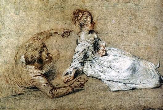 Sitting Couple, by Jean-Antoine Watteau