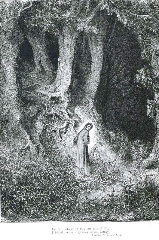 Dante is lost in Canto 1 of the Inferno. Gustave Doré