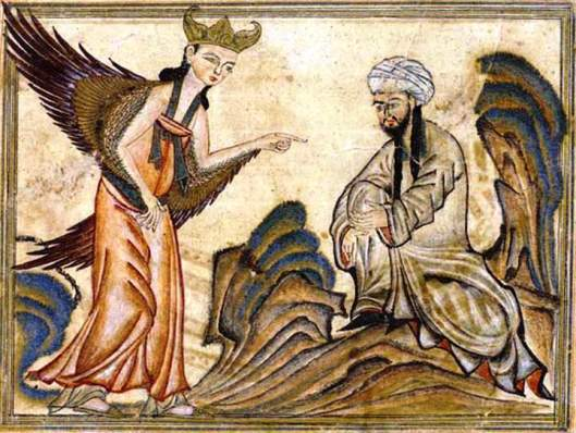 "Mohammed receiving his first revelation from the angel Gabriel. Miniature illustration on vellum from the book Jami' al-Tawarikh (literally ""Compendium of Chronicles"" but often referred to as The Universal History or History of the World), by Rashid al-Din, published in Tabriz, Persia, 1307 A.D. Now in the collection of the Edinburgh University Library, Scotland."