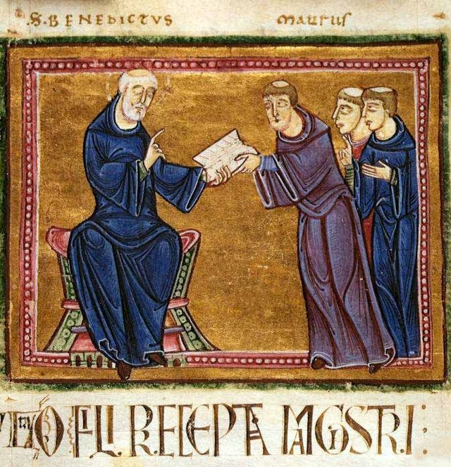 St. Benedict delivering his rule