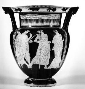 Column krater with a komos and three maenads
