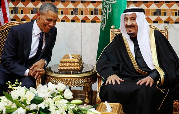 U.S. President Barack Obama meets with Saudi Arabia's King Salma