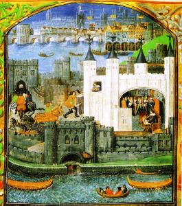 A depiction of Charles' imprisonment in the Tower of London from an illuminated manuscript of his poems