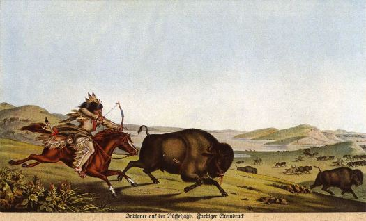 Assiniboine hunting buffalo on horseback (1830)