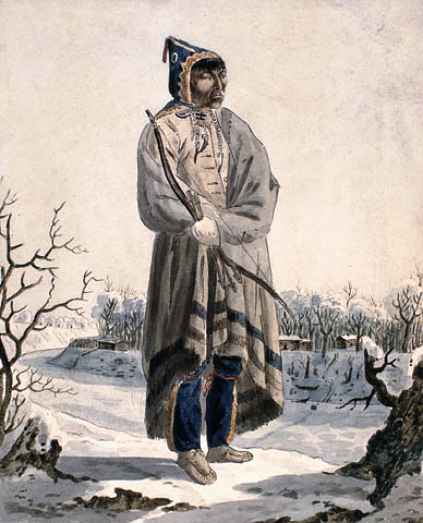 Individual_of_the_Sautaux_First_Nation,_standing_in_a_winter_landscape,_wearing_a_winter_cape,_and_holding_a_bow_and_arrows