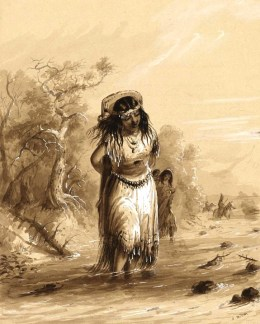 Indian Girl with Papoose Crossing Stream, AJ Miller