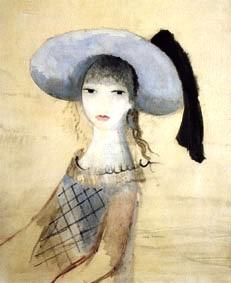 Fille au chapeau bleu et noir, vers 1950