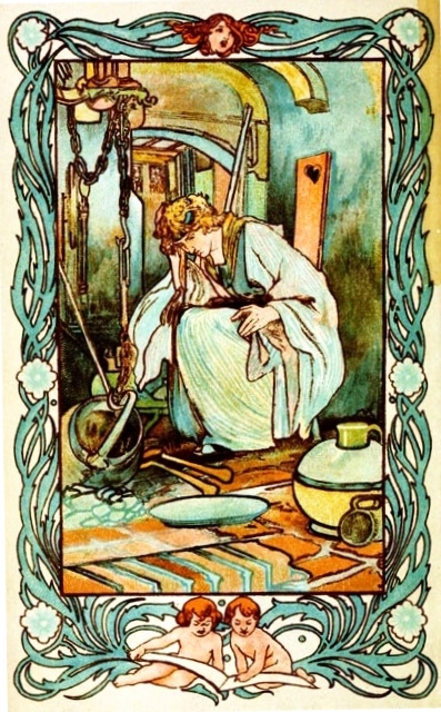 Charles Robinson illustrated Cinderella in the kitchen (1900), from