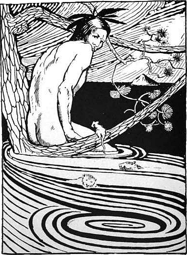 Manabozho in the flood. (Illustration by R.C. Armour, from his book North American Indian Fairy Tales, Folklore and Legends, 1905)