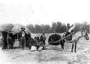 Cheyenne Amerindians using a travois (Photo credit: Google images)