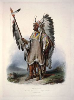 """Mató-Tope, a Mandan chief"": aquatint by Karl Bodmer"