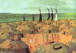 Mandan Village by George Catlin