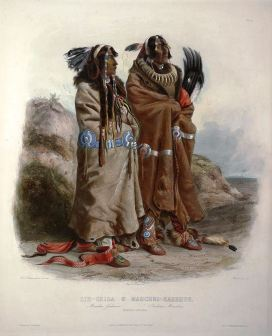 A pair of Mandan men in a print by Karl Bodmer, 19th century