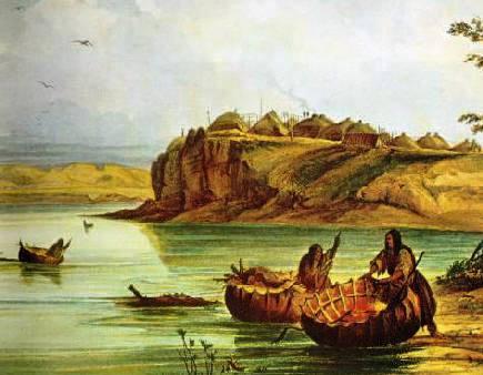 Mandan_Bull_Boats_and_Lodges-_George_Catlin