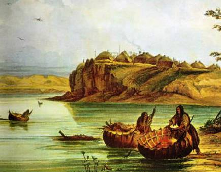 Mandan_Bull_Boats_and_Lodges-_George_Catlin