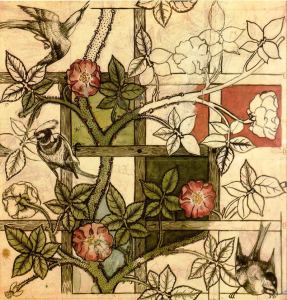 Design for Trellis wallpaper by William Morris, 1862