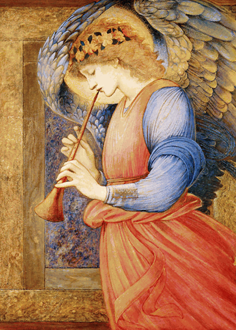 800px-Edward_Burne-Jones_-_An_Angel_Playing_a_Flageolet