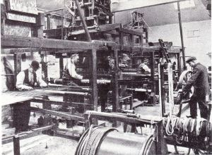 The weaving shed in Morris & Co's factory at Merton, which opened in the 1880s
