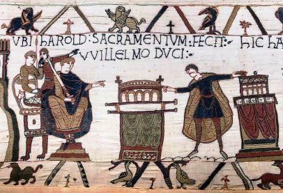 800px-Bayeux_Tapestry_scene23_Harold_sacramentum_fecit_Willelmo_duci
