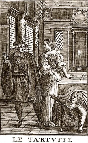 Tartuffe, frontispiece by Pierre Brissard, 1682