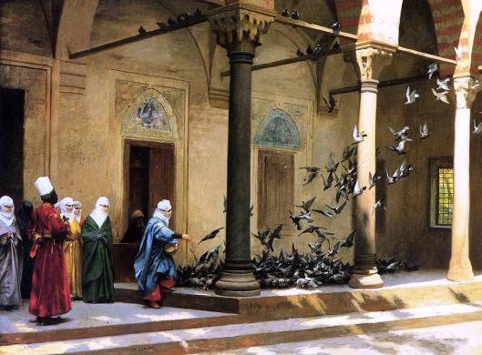 Gérôme_-_Harem_Women_Feeding_Pigeons_in_a_Courtyard