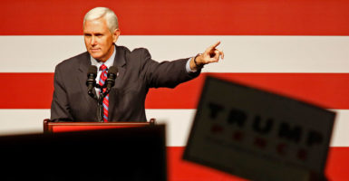 """I told my former colleagues to buckle up, vacation is over,"" Vice President-elect Mike Pence, a former Indiana congressman, said at a Heritage Foundation event Tuesday. (Photo: Max Becherer/Polaris/Newscom)"
