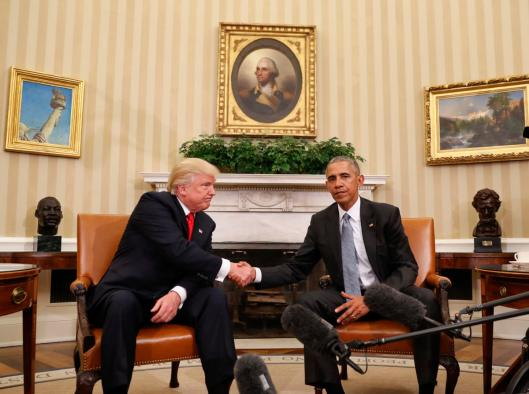 FILE - In this Thursday, Nov. 10, 2016 file photo, President Barack Obama and President-elect Donald Trump shake hands following their meeting in the Oval Office of the White House in Washington. As president-elect, Trump is calling for unity in words that draw attention precisely because they sound so unlike Trump, the candidate. But many question whether it is possible to reverse the campaign's damage to political discourse and its ripples out to the way Americans speak to and about each other. (AP Photo/Pablo Martinez Monsivais)
