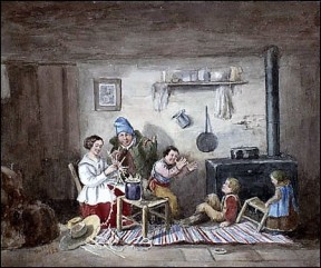 Habitants, painting by Cornelius Krieghoff, 1852 (Wikipedia)