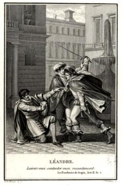 Gravure Moreau le Jeune (Les Fourberies de Scapin)s