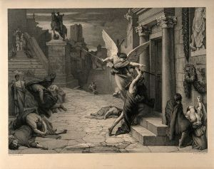The_angel_of_death_striking_a_door_during_the_plague_of_Rome_Wellcome_V0010664